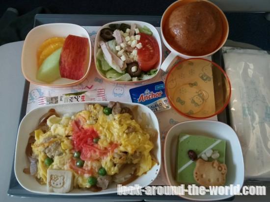 エバー航空A330-300ハローキティジェット機内食